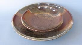 Wood fired stonware, layered glazes, wood ash